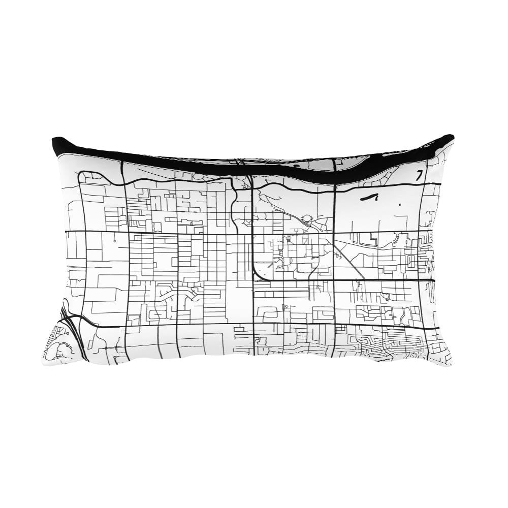 Tempe black and white throw pillow with city map print 12x20