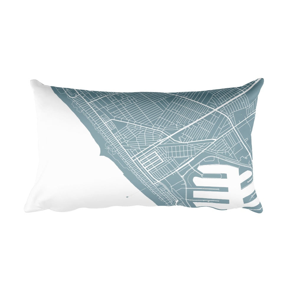 Venice Beach black and white throw pillow with city map print 12x20