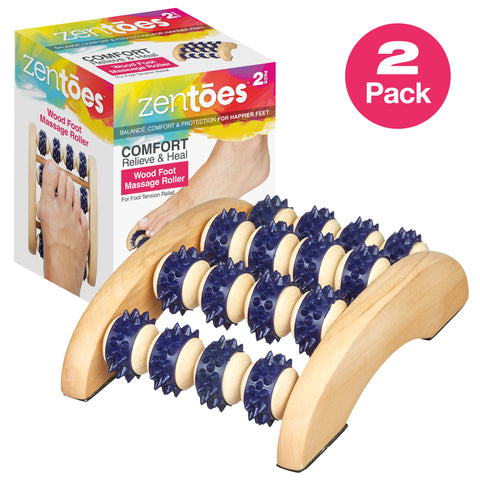 Wooden Foot Massager with Accupressure Rollers - ZenToes