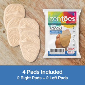 Metatarsal Pads Cloth Covered Gel Ball of Foot Shoe Inserts 4 Pack - ZenToes Zen Toes