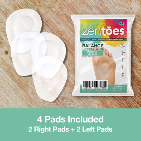 Metatarsal Pads Ball of Foot Cushions Adhere to Shoes - 4 Pack - ZenToes Zen Toes