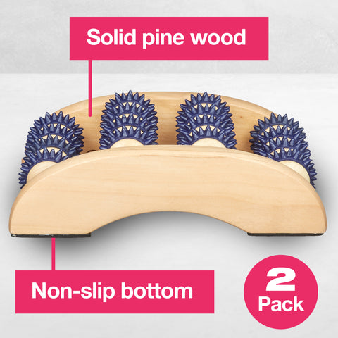 Wooden Foot Massage Roller with Gel Spikes - ZenToes