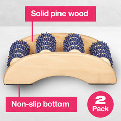 Image of Wooden Foot Massage Roller with Gel Spikes - ZenToes