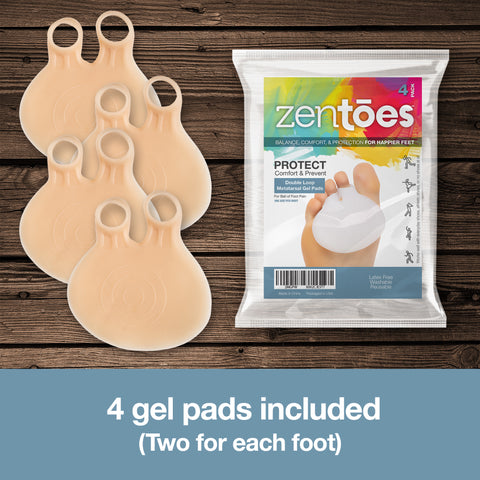 Double Loop Gel Metatarsal Foot Pads - 4 Pack - ZenToes