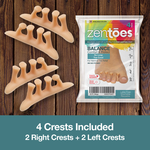 ZenToes Hammer Toe Straightener Crest with No Loop - 4 Count - ZenToes Zen Toes