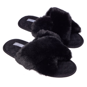 Women's Criss Cross Plush Slippers with Contour Foam - Cockatoo - ZenToes