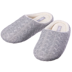 Women's Gray Cable Knit Slippers, Fleece Lined  - Piper - ZenToes