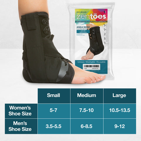 Image of Lace Up Ankle Stabilizer Brace with Compression Straps - ZenToes Zen Toes