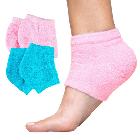 ZenToes Moisturizing Heel Socks with Gel to Heal Dry Cracked Heels Fuzzy Toeless Sleeve Soft Smooth Skin Pink Blue