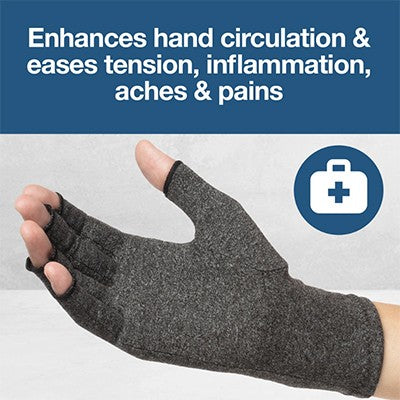 How does a compression glove help to treat hand arthritis symptoms?