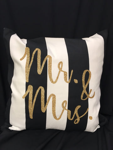 Glitter Mr and Mrs Pillow