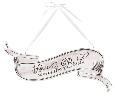 Here Comes the Bride Banner Sign - White