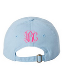 Monogrammed Back of Baseball Hat