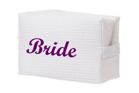 Bride Waffle Weave Cosmetic Bag