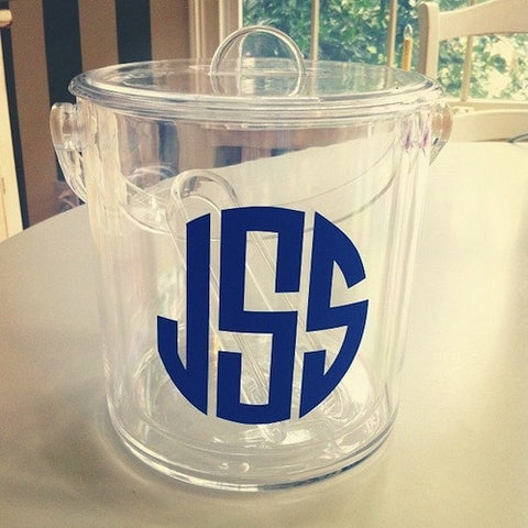 Monogrammed Ice Bucket with Lid