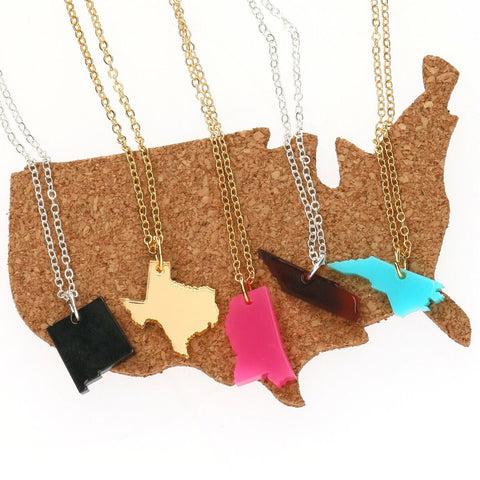 Small Cut Out State Necklace