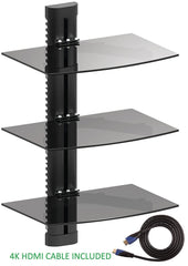 Jestik Wall Mount Shelf - Floating Shelf, TV Shelf, Media Shelf - Easy Mounting Solution - Adjustable Shelves for DVD Players, Cable Boxes, Games Consoles, TV Accessories, Plus 4K HDMI Cable (3 Shelf)