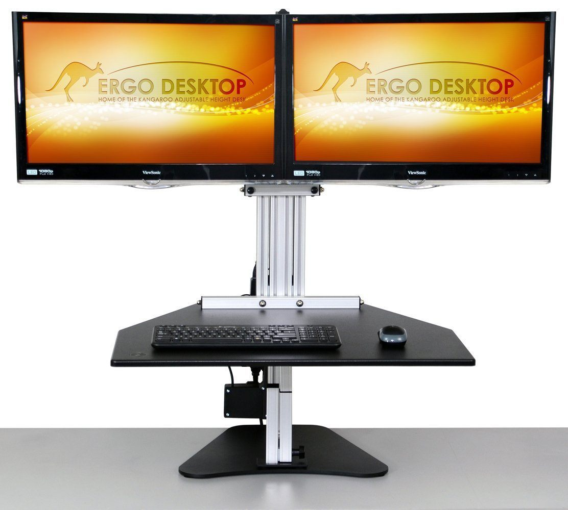 "Ergo Desktop Workstation Monitor Mounts Black / The user is 6'0"" or shorter / None Ergo Desktop Electric Kangaroo Elite"