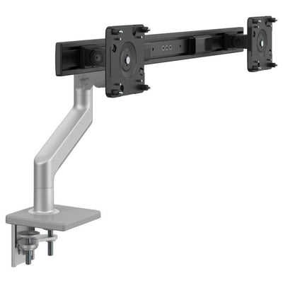 Humanscale Monitor Arm S - Silver with Gray Trim / Two-Piece Clamp Mount with Base / 2 - Crossbar for 2 monitors Humanscale M8.1 Heavy Duty Single or Dual Monitor Arm