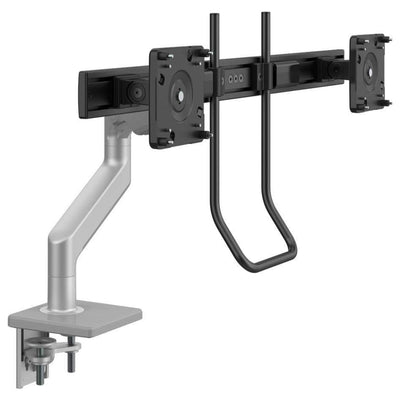 Humanscale Monitor Arm S - Silver with Gray Trim / Two-Piece Clamp Mount with Base / H - Crossbar for 2 monitors with Handle Humanscale M8.1 Heavy Duty Single or Dual Monitor Arm