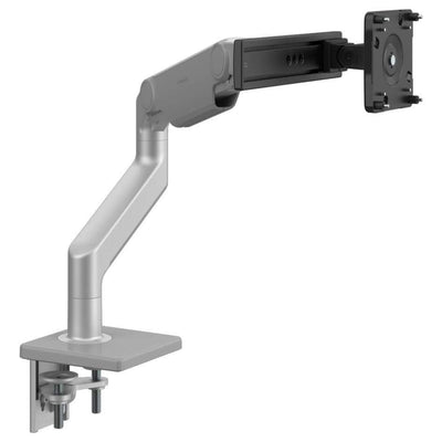 Humanscale Monitor Arm S - Silver with Gray Trim / Two-Piece Clamp Mount with Base / S - Slider For Single Monitor Humanscale M8.1 Heavy Duty Single or Dual Monitor Arm