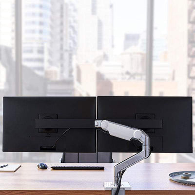 Humanscale Monitor Arm S - Silver with Gray Trim / Two-Piece Clamp Mount with Base / T - Standard Monitor Tilt Humanscale M8.1 Heavy Duty Single or Dual Monitor Arm