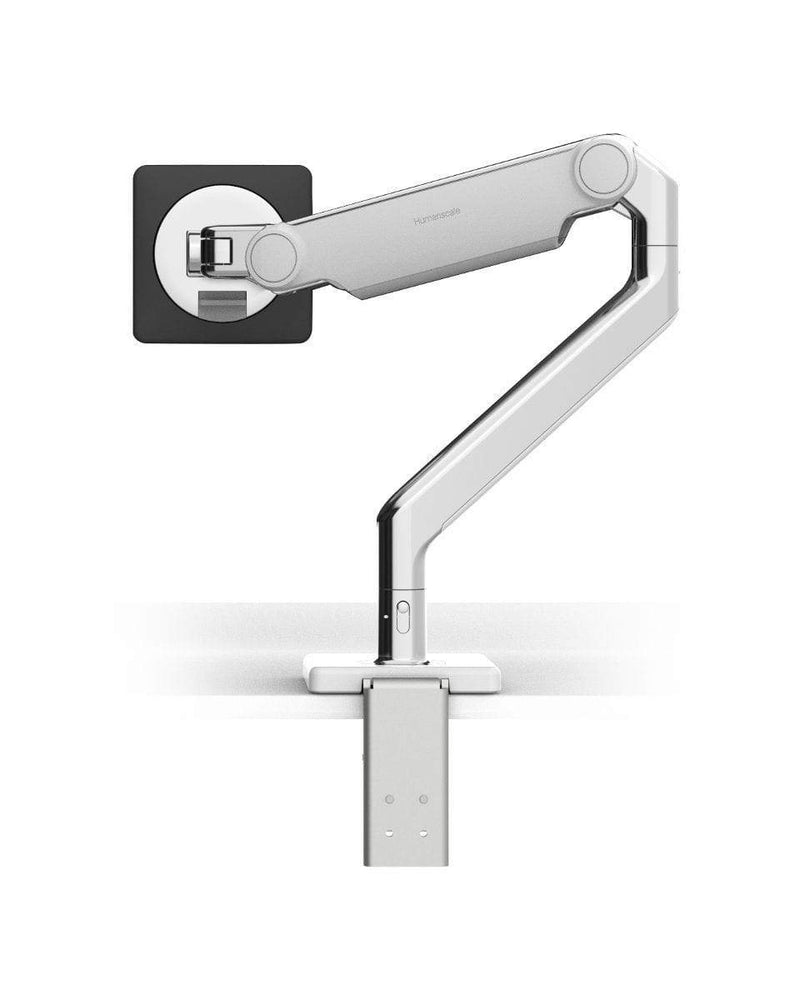 Humanscale Monitor Arm W - Polished Aluminum with White Trim / CM - Two-Piece Clamp Mount with Base Humanscale M2.1 Single Monitor Arm