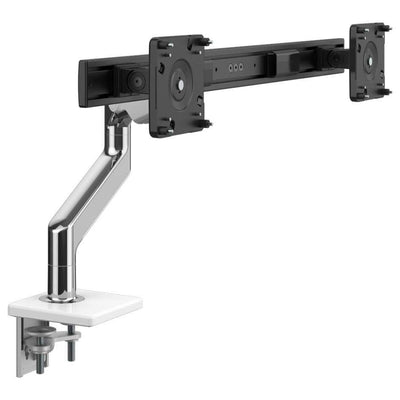 Humanscale Monitor Arm W - Polished Aluminum with White Trim / Two-Piece Clamp Mount with Base / 2 - Crossbar for 2 monitors Humanscale M8.1 Heavy Duty Single or Dual Monitor Arm