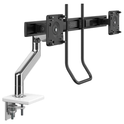 Humanscale Monitor Arm W - Polished Aluminum with White Trim / Two-Piece Clamp Mount with Base / H - Crossbar for 2 monitors with Handle Humanscale M8.1 Heavy Duty Single or Dual Monitor Arm