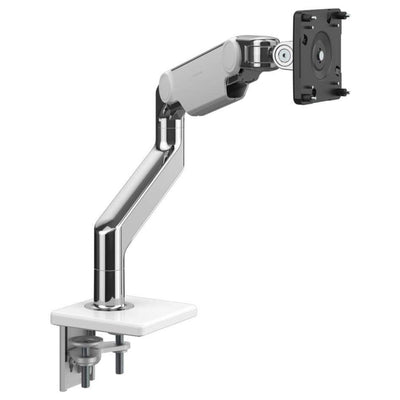 Humanscale Monitor Arm W - Polished Aluminum with White Trim / Two-Piece Clamp Mount with Base / T - Standard Monitor Tilt Humanscale M8.1 Heavy Duty Single or Dual Monitor Arm