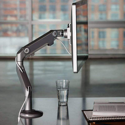 Humanscale Single Monitor Arm W/ Bolt Through Mount / Polish Aluminum with White Trim Humanscale M8 Monitor Arm