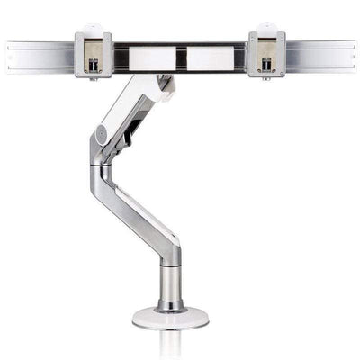 Humanscale Single Monitor Arm W/ Bolt Through Mount / Polished Aluminum with White Trim Humanscale M8 Crossbar Monitor Arm