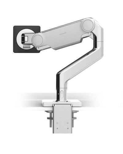 Humanscale Single Monitor Arm W - Polished Aluminum with White Trim / CM - Two-Piece Clamp Mount with Base Humanscale M10 Heavy Duty Monitor arm Holds up to 48lbs