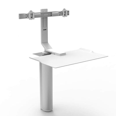 "Humanscale Under Desk White / Dual Monitor Mount (5"" of manual adjustment) Humanscale QUICKSTAND UNDER DESK"
