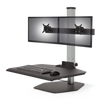 "Innovative Freestanding Sit-Stand Dual / Standard 30""W x 23""D / Silver Innovative Winston Workstation Single, Dual, Triple, or Quad Sit to Stand Worksation"