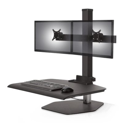 "Innovative Freestanding Sit-Stand Dual / Standard 30""W x 23""D / Vista Black Innovative Winston Workstation Single, Dual, Triple, or Quad Sit to Stand Worksation"