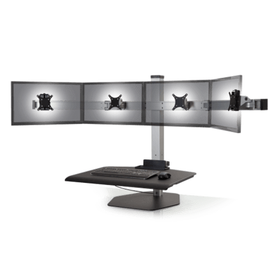 "Innovative Freestanding Sit-Stand Quad / Standard 30""W x 23""D / Silver Innovative Winston Workstation Single, Dual, Triple, or Quad Sit to Stand Worksation"