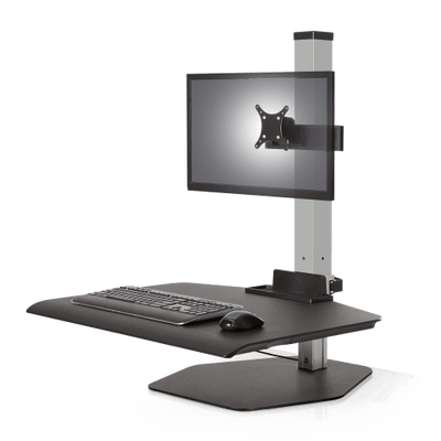 "Innovative Freestanding Sit-Stand Single / Standard 30""W x 23""D / Silver Innovative Winston Workstation Single, Dual, Triple, or Quad Sit to Stand Worksation"