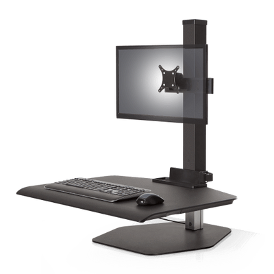 "Innovative Freestanding Sit-Stand Single / Standard 30""W x 23""D / Vista Black Innovative Winston Workstation Single, Dual, Triple, or Quad Sit to Stand Worksation"