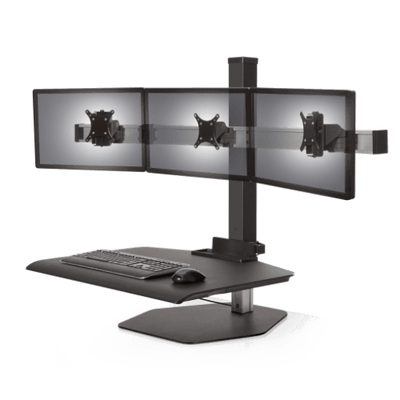 "Innovative Freestanding Sit-Stand Triple / Standard 30""W x 23""D / Vista Black Innovative Winston Workstation Single, Dual, Triple, or Quad Sit to Stand Worksation"