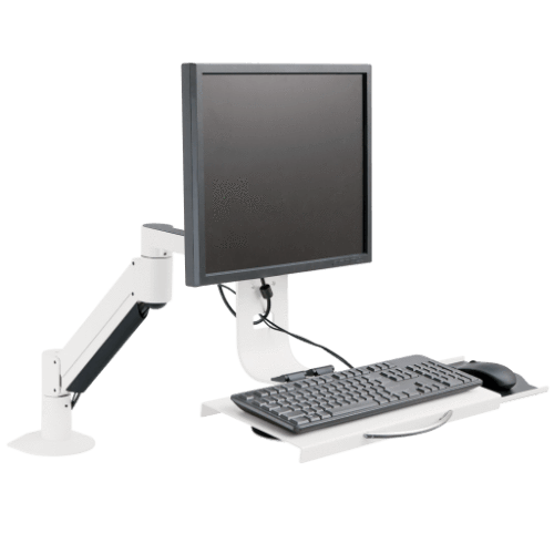 Innovative Monitor Arm & Keyboard Tray Flat White Innovative 7509 – Data Entry Monitor Arm and Keyboard Tray