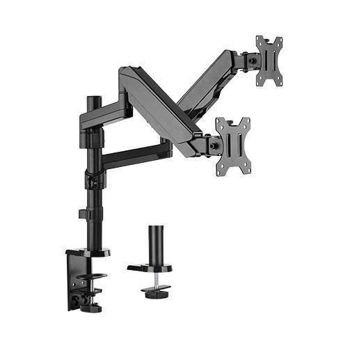 "Jestik Dual Monitor Arm Slate Black Jestik Advanced Flex 2.0 Dual Monitor Arm Clamp and Bolt Through Mount - Gas Assisted Arm, For Two 17""-32"" Computer Screens, Holds up to 17.6 lbs."
