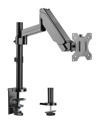 "Jestik Single Monitor Arm Slate Black Jestik Advanced Flex 1.0 Single Monitor Arm Clamp and Bolt Through Mount - Gas Assisted Arm, For 17""-32"" Computer Screens, Holds up to 17.6 lbs."
