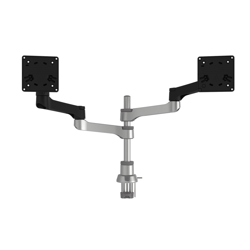 R-Go Zepher C2 Circular Dual Monitor Arm Desk Mount, Adjustable, 0-8 kg, Black-Silver, Low Carbon Footprint