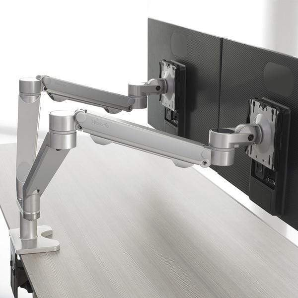 Workrite Dual Monitor Arm C-Clamp Workrite Willow Dual Wide Monitor Arm