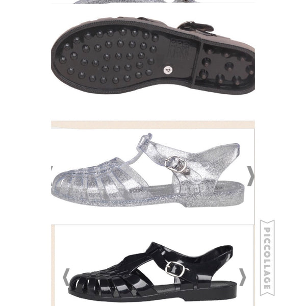 Jelly Sandals Clear Glitter/ Forro outdoor
