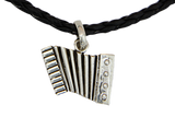 Silver Sanfona(Accordion) + Leather Necklace