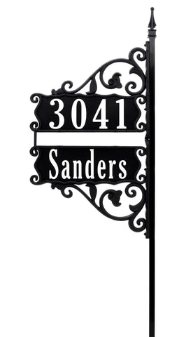 "Stacked Double Boardwalk Address Sign on 58"" Pole"