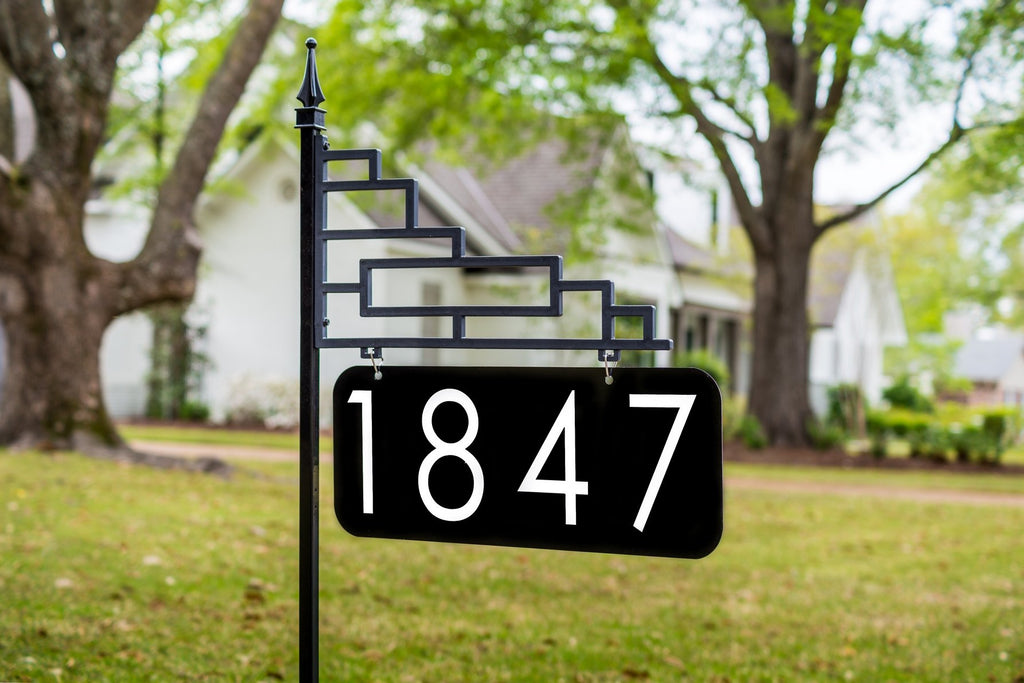 Extra Large Contemporary Reflective 911 Yard Address Sign