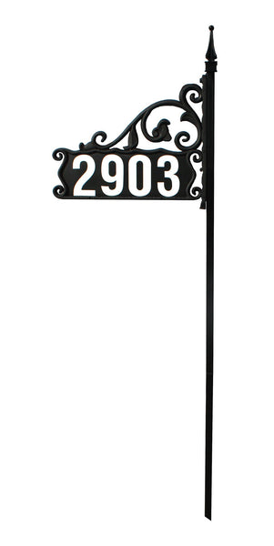 "DIY Boardwalk Reflective Address Sign For Yard on a 48"" Pole"